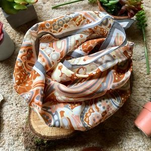 {Vintage} Peach & Grey Large Square Floral Scarf